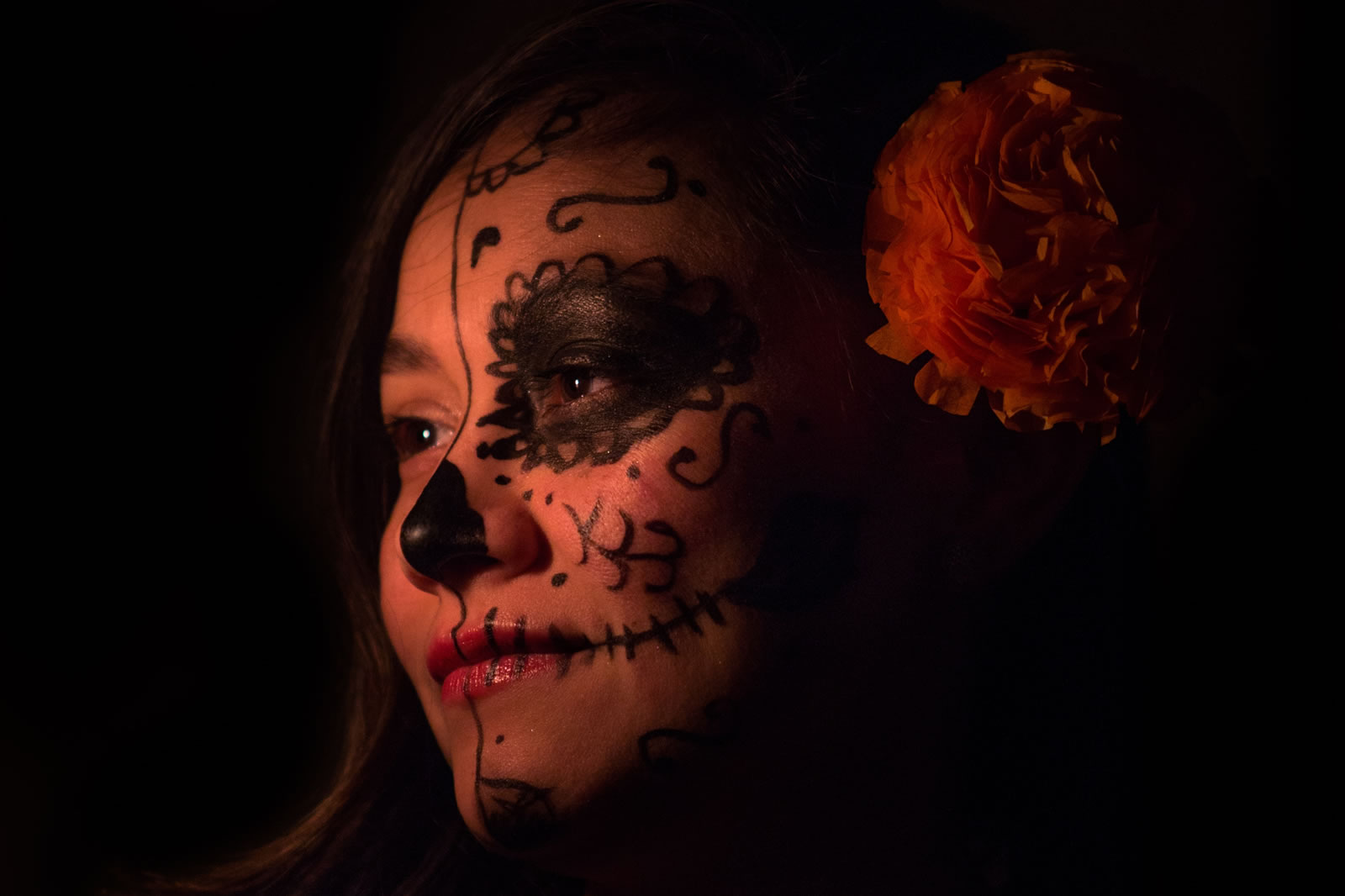 Woman with face painting